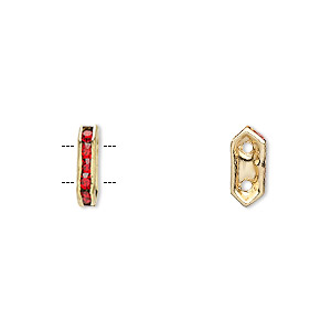 spacer, gold-finished brass and rhinestone, red, 11x2.5mm 2-strand bridge, fits up to 4.5mm bead. sold per pkg of 10.