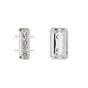 spacer, silver-plated pewter (zinc-based alloy) and czech glass rhinestone, clear, 16x4mm 2-strand rectangle fits up to 6mm beads. sold per pkg of 2.
