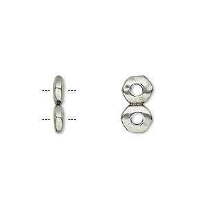 spacer, tierracast, antiqued pewter (tin-based alloy), 12.5x2.5mm 2-strand rondelle nugget with 2mm hole, fits up to 6mm bead. sold per pkg of 2.