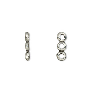 spacer, tierracast, antiqued pewter (tin-based alloy), 14x2mm 3-strand rondelle nugget with 2mm hole, fits up to 4mm bead. sold per pkg of 2.