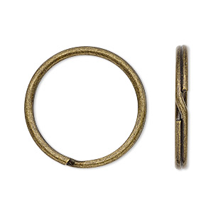 split ring, antique brass-plated steel, 25mm round. sold per pkg of 100.