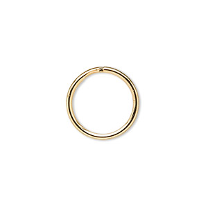 split ring, gold-finished steel, 15mm round. sold per pkg of 100.