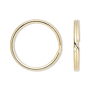 split ring, gold-finished steel, 24mm round. sold per pkg of 100.