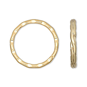 split ring, gold-finished steel, 25mm hammered round. sold per pkg of 10.