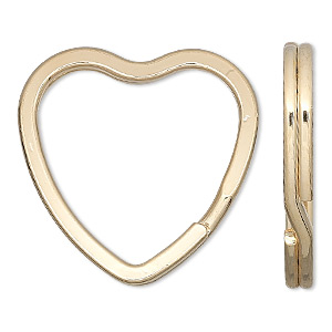 split ring, gold-finished steel, 32x31mm flat heart. sold per pkg of 10.