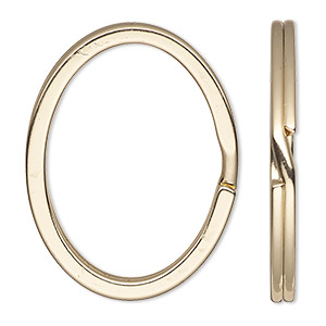 split ring, gold-finished steel, 34x28mm flat oval. sold per pkg of 100.