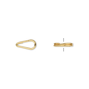 split ring, gold-plated steel, 10x5mm teardrop with 7.5x3mm hole. sold per pkg of 10.