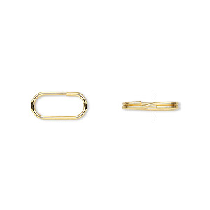 split ring, gold-plated steel, 12x6mm oval with 10x4mm hole. sold per pkg of 100.