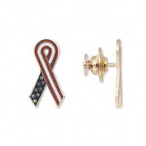 spot pin, 14kt gold with enamel and gold-finished brass, red / white / blue, 20x10mm awareness ribbon with gold-finished brass clutch pin back. sold individually.