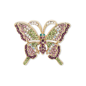 spot pin, czech glass rhinestone with gold-finished brass and pewter (zinc-based alloy), multicolored, 28x23mm butterfly. sold individually.