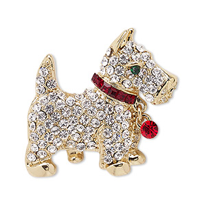 spot pin, czech glass rhinestone with gold-finished brass and pewter (zinc-based alloy), multicolored, 32x29mm dog. sold individually.