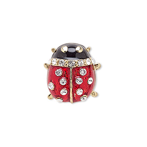 spot pin, enamel / czech glass rhinestone / gold-finished brass / pewter (zinc-based alloy), red / black / clear, 20x17mm ladybug. sold individually.