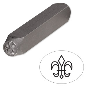 stamp punch, tempered chrome vanadium steel, 6x5mm fleur-de-lis, 2-3/4 x 3/8 inches. sold individually.