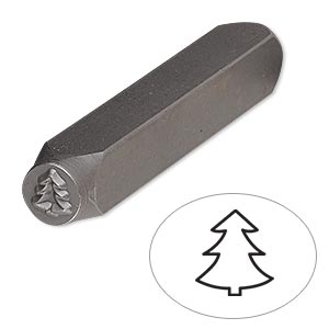 stamp punch, tempered chrome vanadium steel, 6x6mm christmas tree, 2-3/4 x 3/8 inches. sold individually.