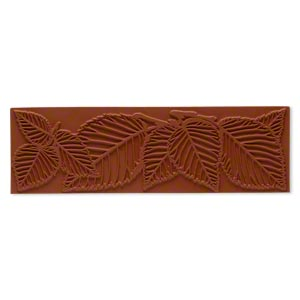 stamping mat, rubber, brown, 7x2-inch rectangle with leaf designs. sold individually.