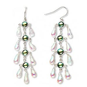sterling silver and dichroic green and pink drop earrings, approx 70mm long. sold per pair.