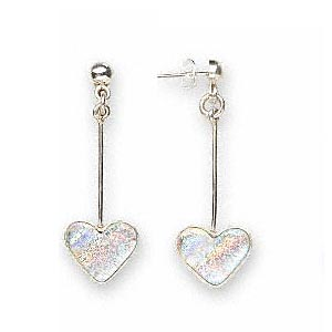 sterling silver and dichroic heart shaped drop earrings, rainbow, 16x13mm, approx. 53mm long. sold per pair.