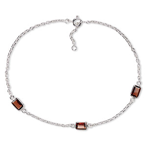sterling silver and faceted garnet anklet, 10-inch. (natural) sold individually.