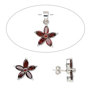 sterling silver and faceted garnet pendant and earring set, flower pattern, 17-18mm. (natural) pkg of one-3 piece set.