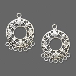 sterling silver fancy circle drop with 8-loops, 17x16mm overall. sold per pkg of 2.