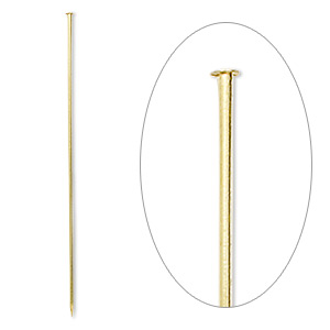 stick pin, gold-finished brass, 3 inches, 18 gauge. sold per pkg of 10.