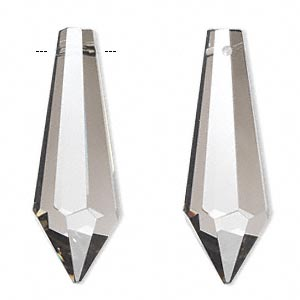 suncatcher, asfour crystal, crystal, clear satin, 38x12mm faceted point. sold per pkg of 6.