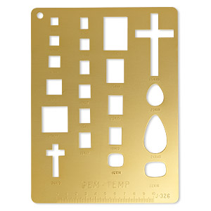 template, gem-temp™, anodized aluminum, gold, assorted calibrated size and shape. sold individually.