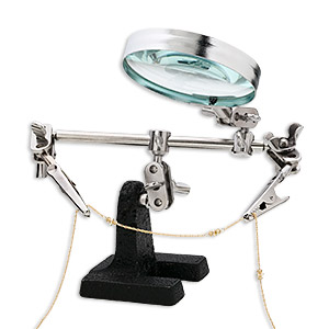 third hand with magnifier, steel and glass, 2x power, 2-1/2 inch diameter magnifying lens. sold individually.