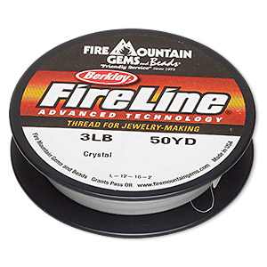 thread, berkley fireline, gel-spun polyethylene, crystal, 0.10mm diameter, 3-pound test. sold per 50-yard spool.