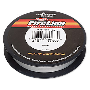 thread, berkley fireline, gel-spun polyethylene, crystal, 0.13mm diameter, 4-pound test. sold per 125-yard spool.