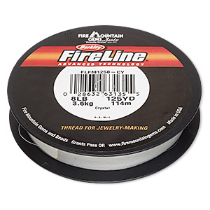 thread, berkley fireline, gel-spun polyethylene, crystal, 0.18mm diameter, 8-pound test. sold per 125-yard spool.