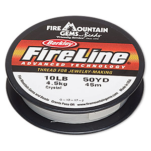thread, berkley fireline, gel-spun polyethylene, crystal, 0.2mm diameter, 10-pound test. sold per 50-yard spool.