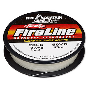 thread, berkley fireline, gel-spun polyethylene, crystal, 0.3mm diameter, 20-pound test. sold per 50-yard spool.