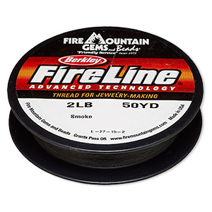 thread, berkley fireline, gel-spun polyethylene, smoke, 0.08mm diameter, 2-pound test. sold per 50-yard spool.