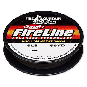 thread, berkley fireline, gel-spun polyethylene, smoke, 0.15mm diameter, 6-pound test. sold per 50-yard spool.