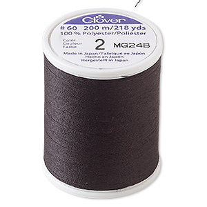 thread, clover, polyester, black, 60-pound test. sold per 218-yard spool.