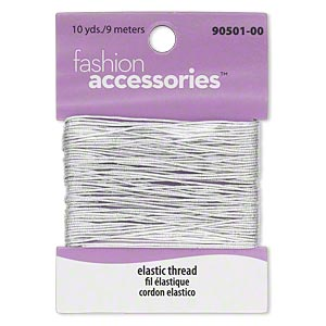 thread, fashion accessories™, elastic, silver-colored, 0.68mm diameter. sold per pkg of 10 yards. minimum 2 per order.