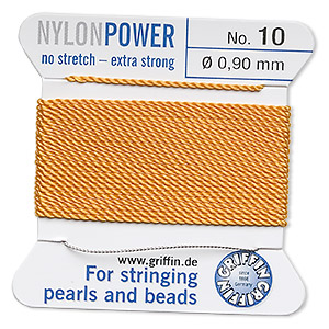 thread, nylon, amber yellow, size #10. sold per 2-yard card.
