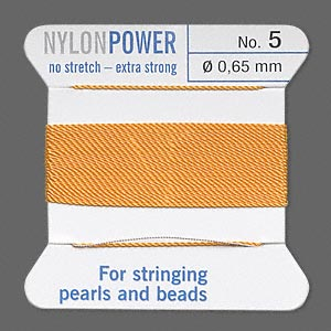 thread, nylon, amber yellow, size #5. sold per 2-yard card.