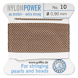 thread, nylon, beige, size #10. sold per 2-yard card.
