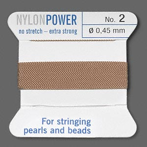 thread, nylon, beige, size #2. sold per 2-yard card.
