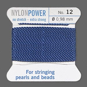 thread, nylon, blue, size #12. sold per 2-yard card.