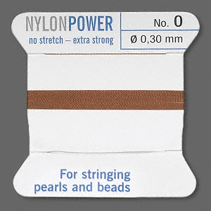 thread, nylon, brown, size #0. sold per 2-yard card.