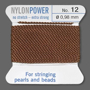 thread, nylon, brown, size #12. sold per 2-yard card.