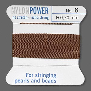 thread, nylon, brown, size #6. sold per 2-yard card.