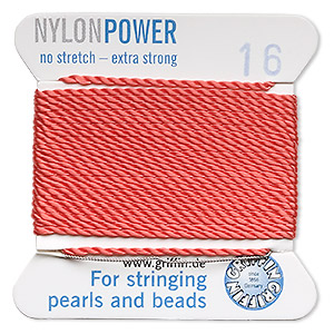 thread, nylon, coral, size #16. sold per 2-yard card.
