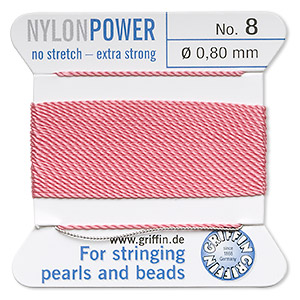 thread, nylon, dark pink, size #8. sold per 2-yard card.