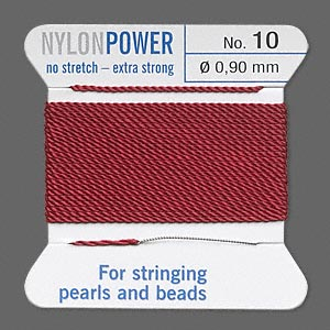 thread, nylon, garnet red, size #10. sold per 2-yard card.