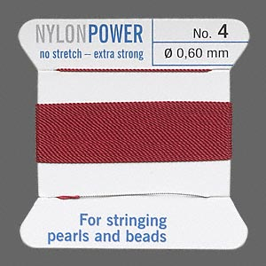 thread, nylon, garnet red, size #4. sold per 2-yard card.