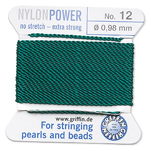 thread, nylon, green, size #12. sold per 2-yard card.